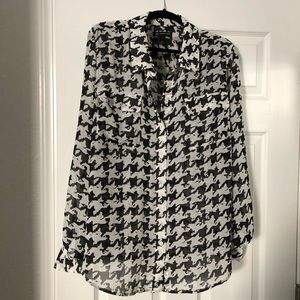 Black and white check blouse Macy's INC brand